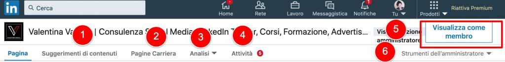 Visualizzazione amministratore pagina linkedin